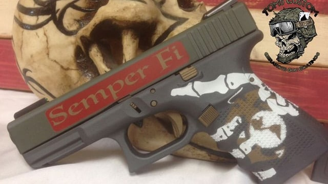 A Marine-themed Glock on someone's pinterest page.