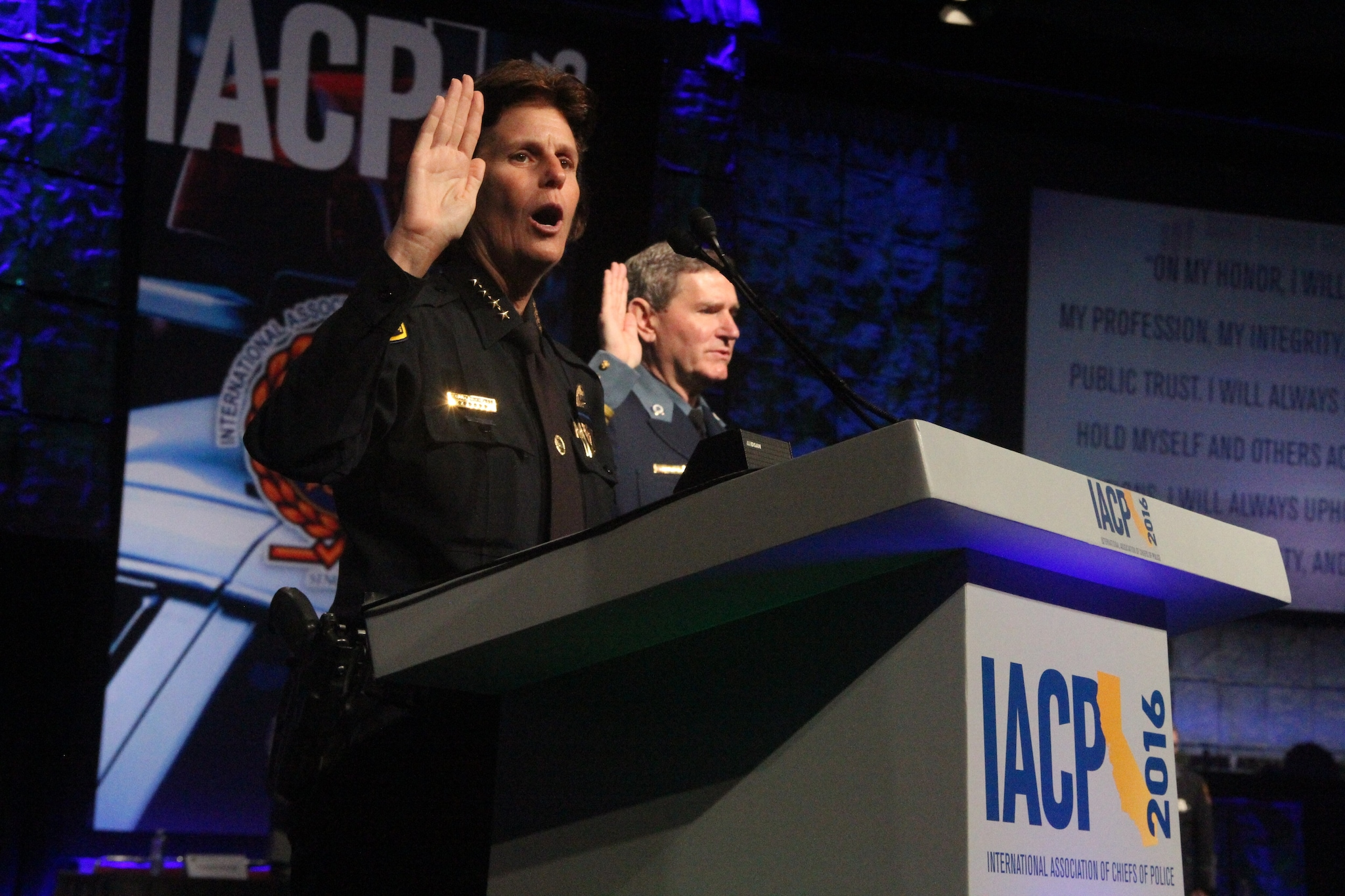 San Diego Police Chief Shelley Zimmerman leads the Oath of Honor during the National Association of Police Chiefs annual convention in San Diego Oct. 15-18, 2015. (Photo: Jared Morgan / Guns.com)