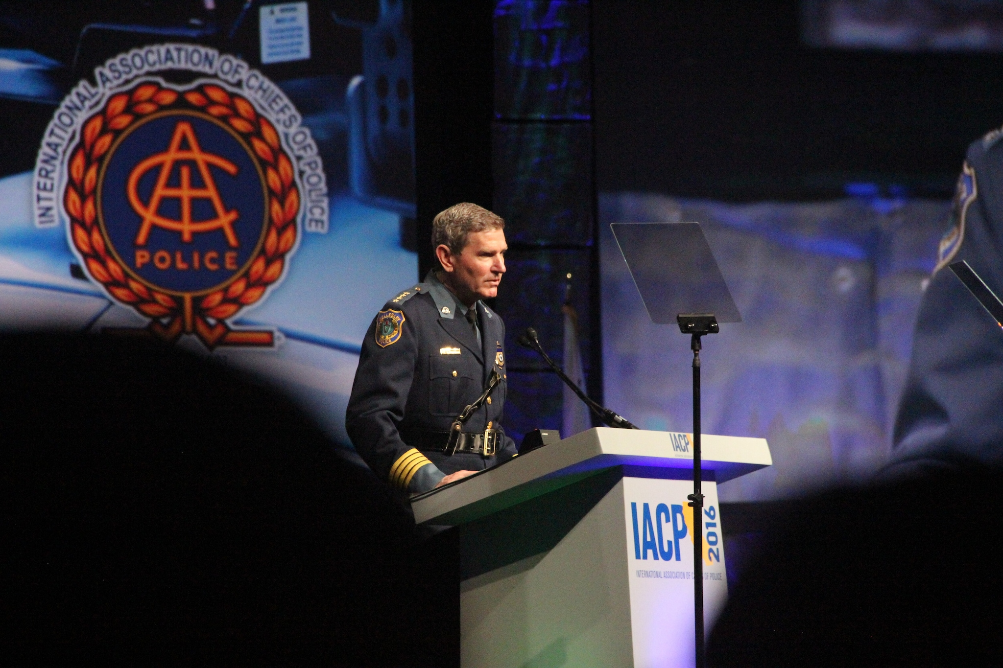IACP head Terry Cunningham speaks to a crowd of thousands of law enforcement professionals and others during the National Association of Police Chiefs annual convention in San Diego Oct. 15-18, 2015. (Photo: Jared Morgan / Guns.com)