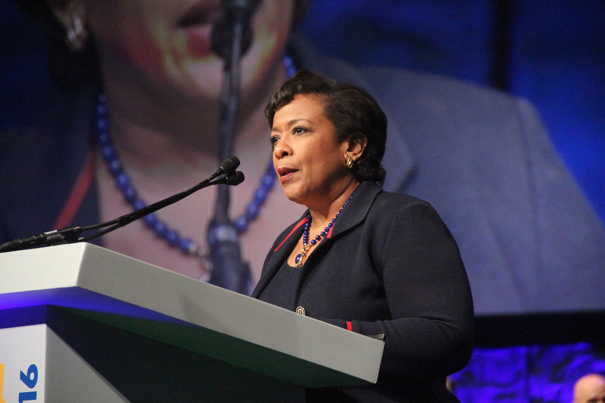 U.S. Attorney General Loretta Lynch addresses a crowd of several thousand law enforcement professionals and others during the National Association of Police Chiefs annual convention in San Diego Oct. 15-18, 2015. (Photo: Jared Morgan / Guns.com)