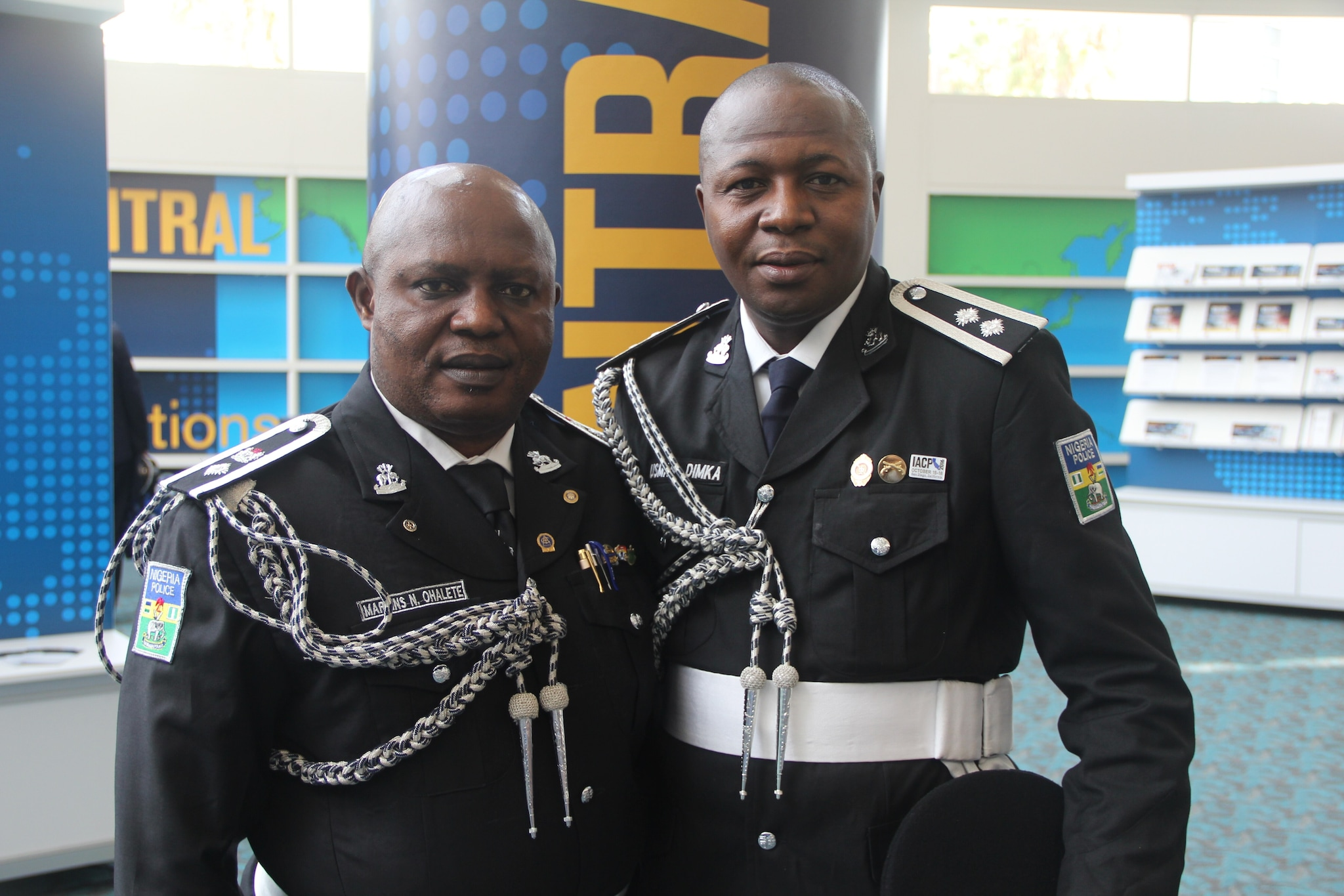 Two representatives from the Nigerian Police pose for a photo on Uniform Day during the National Association of Police Chiefs annual convention in San Diego Oct. 15-18, 2015. (Photo: Jared Morgan / Guns.com)
