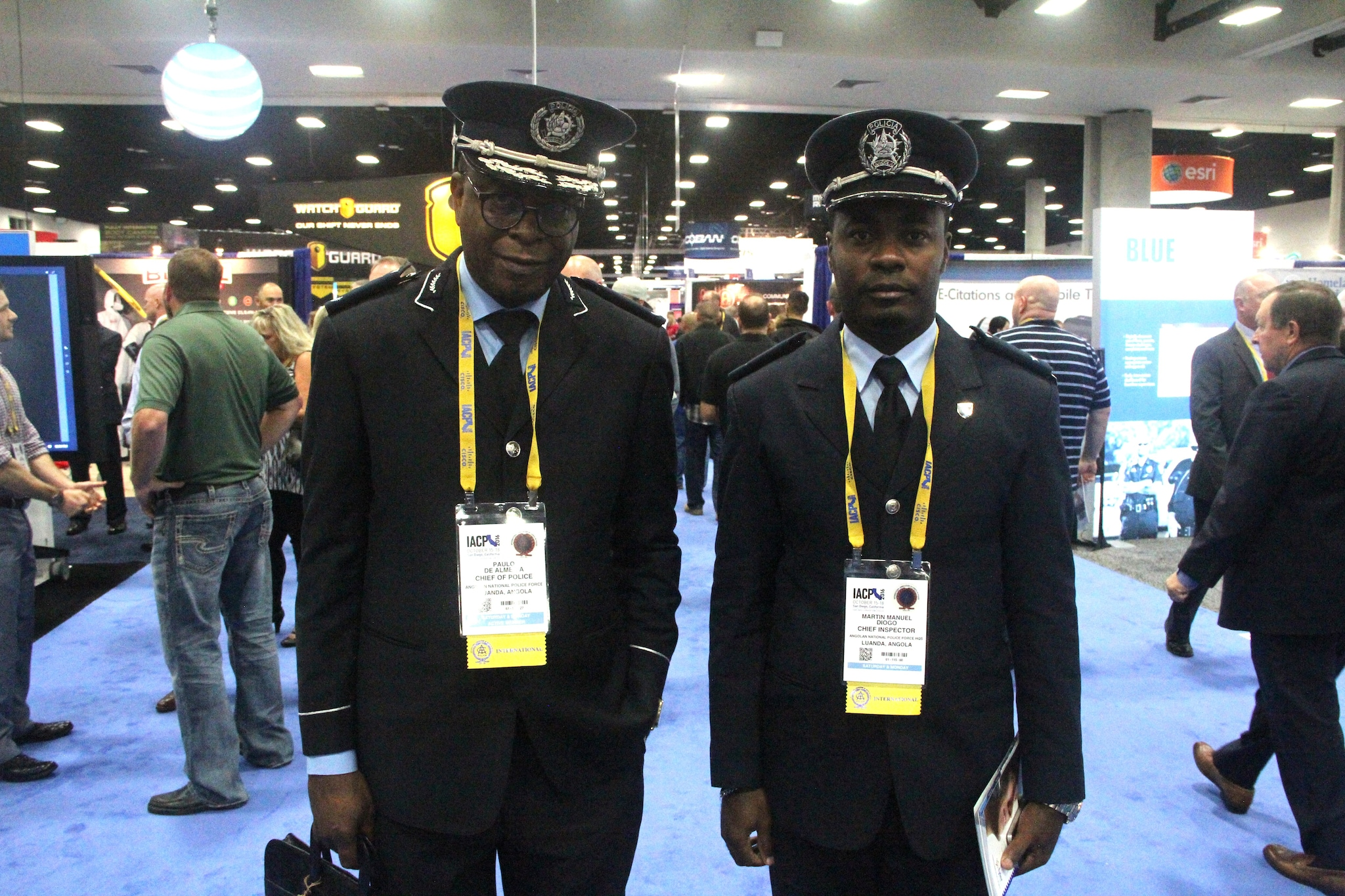 Two chiefs from the Angolan National Police Force in Luanda, Angola, pose for a photo on Uniform Day during the National Association of Police Chiefs annual convention in San Diego Oct. 15-18, 2015. (Photo: Jared Morgan / Guns.com)