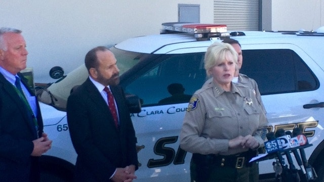 California state Sen. Jerry Hill, D-San Mateo, and Santa Clara County Sheriff Laurie Smith showed off new lock boxed to be installed in deputy's public and private vehicles to secure issued weapons when not in use. (Photo: Santa Clara County Sheriff's Department)