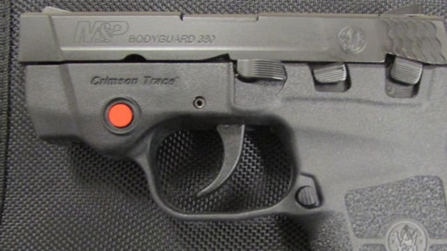 A Smith & Wesson Bodyguard .380 pistol equipped with laser sights. (Photo: GunsAmerica)