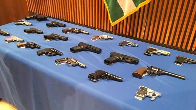 gun trafficking guns on table