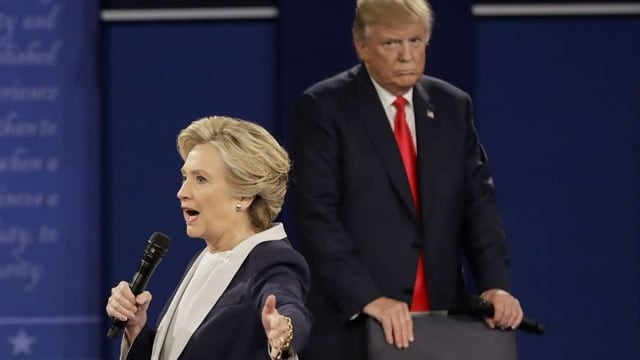 Hillary Clinton, left, and Donald Trump during the second presidential debate on Oct. 9. (Photo: Julio Cortez/Associated Press)