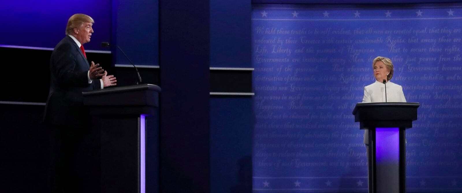 In this cropped photo, Donald Trump and Hillary Clinton square off at the final presidential debate held in Las Vegas on Wednesday, Oct. 19, 2016. (Photo: Carlos Barria/Reuters)