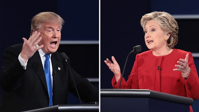 Left: Republican nominee Donald Trump speaks during the presidential debate at Hofstra University on Monday in Hempstead, N.Y. Right: Democratic nominee Hillary Clinton speaks during the debate. (Photo: Drew Angerer/Getty Images)
