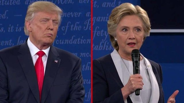 Donald Trump and Hillary Clinton at the second presidential debate Oct.9 at Washington University in St. Louis, Missouri (Photo: Fox News)