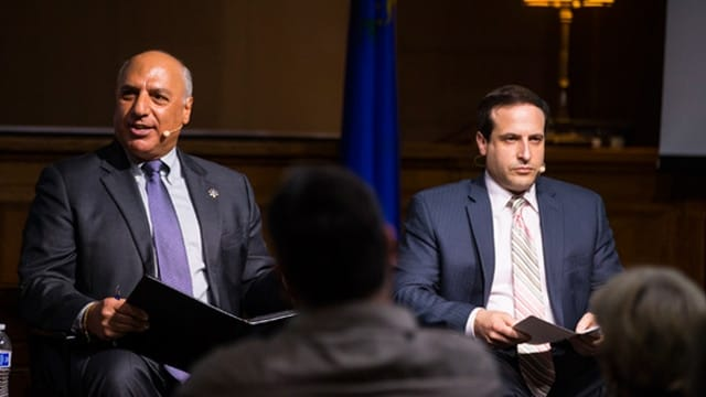 Las Vegas City Councilman Stavros Anthony, left, and William Sousa, UNLV professor, discussing Question 1 during a town hall at the Las Vegas Mob Museum Thursday. (Photo: Miranda Alam/Las Vegas Review-Journal)