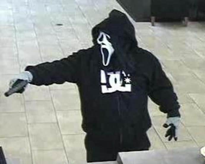 """Scottsdale, Arizona. February 23,2015 The suspect wore a """"Scream"""" mask, a black hooded sweatshirt with a """"DG"""" logo in white letters on the front, black pants, and black tennis shoes with white soles."""