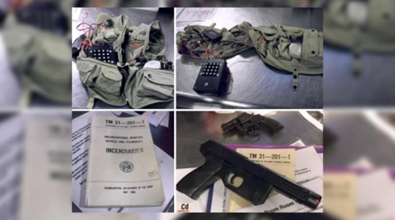 Plastic replica guns, suicide vest and military manual found inside Virginia man's luggage on Oct. 22, 2016 (Photo: Transportation Security Administration)