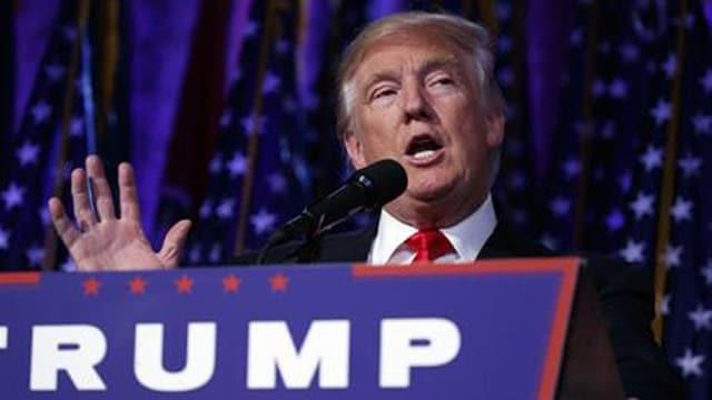Donald Trump at podium speaking