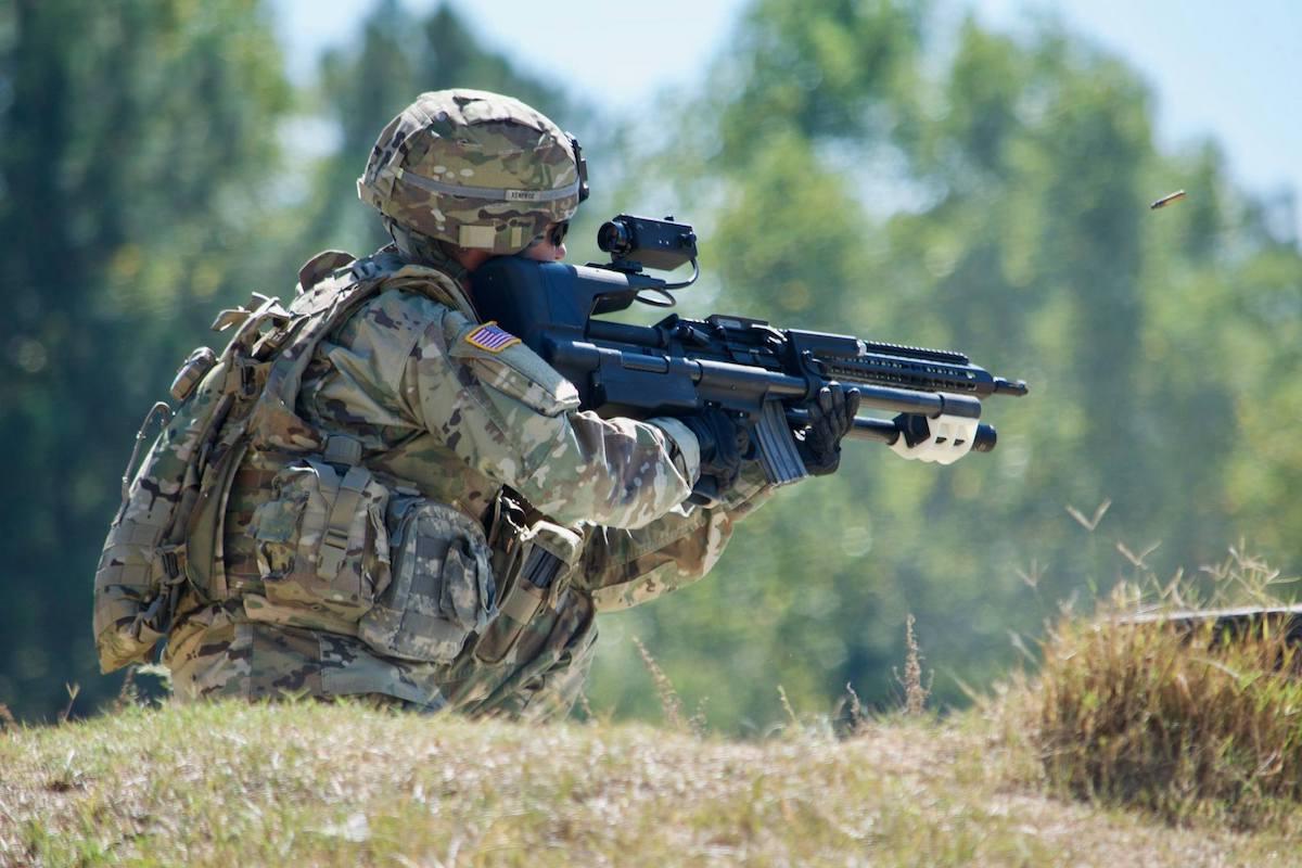 1LT William Renfroe fires the AimLock Stabilized Weapon Platform at Fort Benning, GA. (Photo:Angie DePuydt)