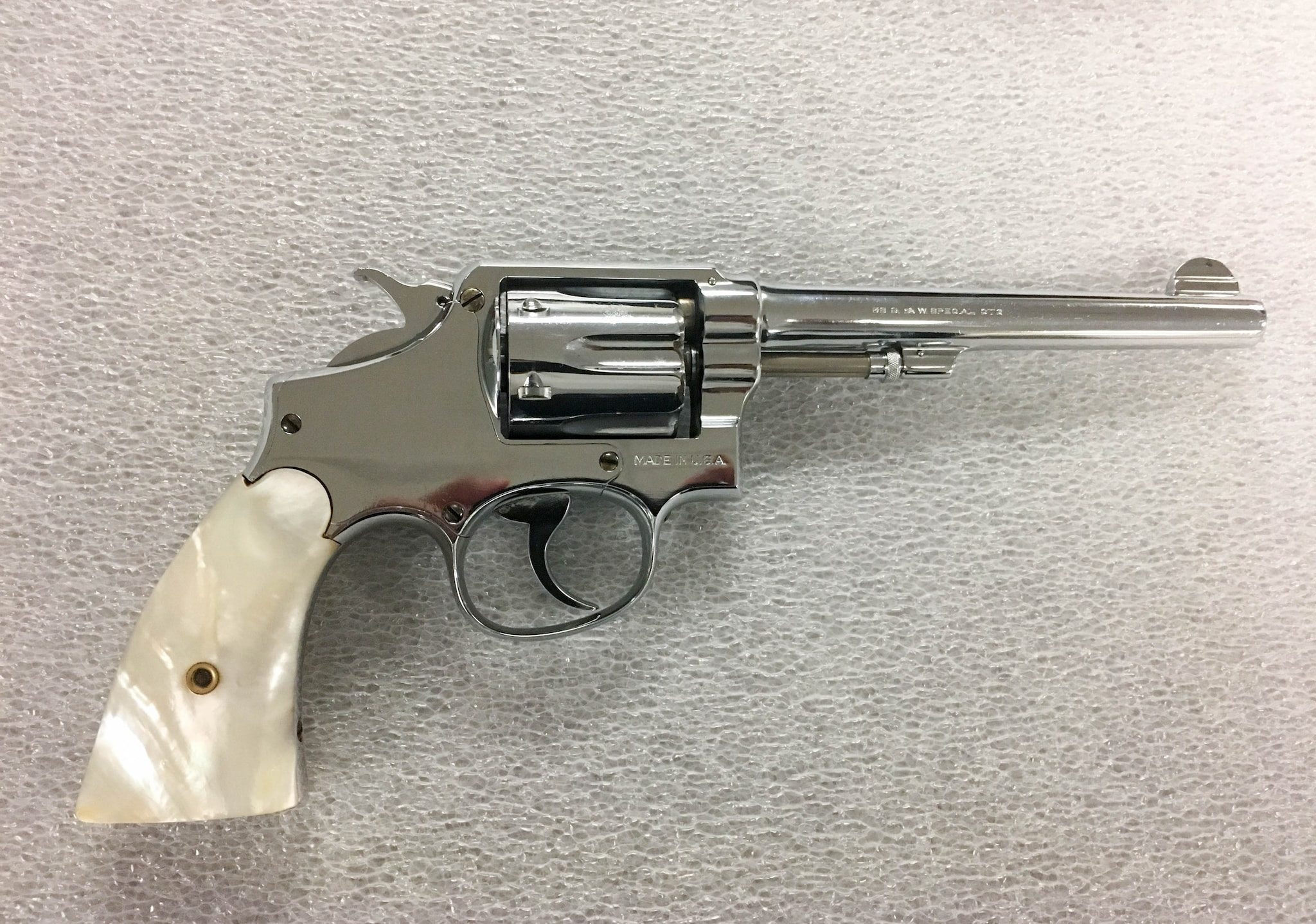 The 1925 Smith & Wesson .38-caliber pearl handed revolver confiscated from Al Capone during an arrest in 1928.