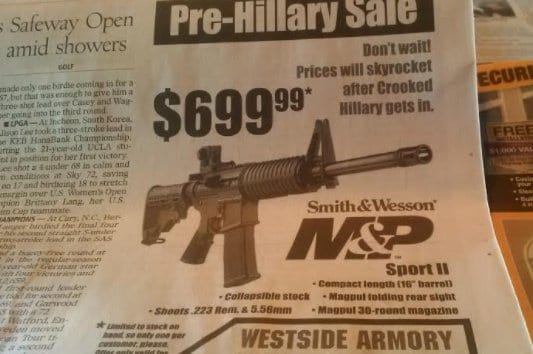 "Westside Armory in Las Vegas uses ""Crooked Hillary"" to drive nervous un owners through their doors. (Photo: Twitter)"