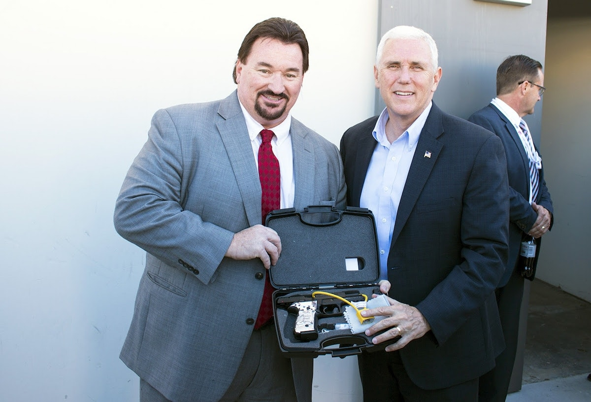 FIME Group presented VP-elect Mike Pence with a custom pistol. (Photo: FIME Group)