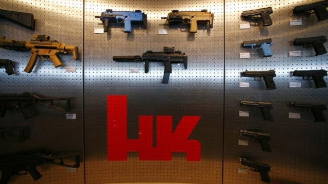 Heckler & Koch weapons are pictured at a show room at the headquarters in Oberndorf, 80 kilometers southwest of Stuttgart, Germany, May 8, 2015. Picture taken May 8, 2015. REUTERS/Ralph Orlowski