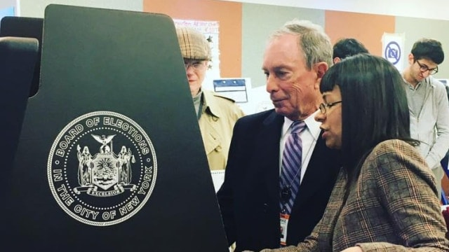 Former New York Mayor Michael Bloomberg, seen above at a polling location, failed to make enough of an impression on Maine voters to pass a $5 million gun control initiative. (Photo: Mike Bloomberg Facebook)