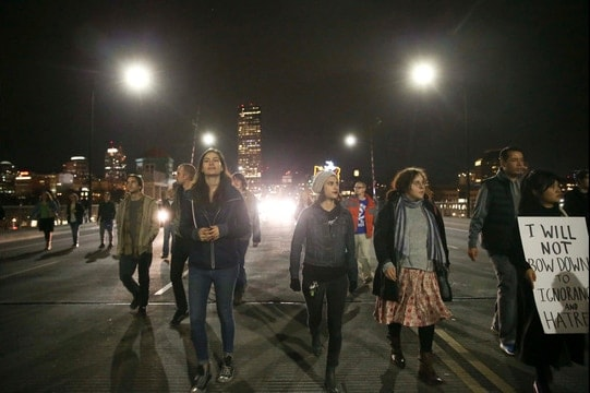 Protestors march late Friday evening in Portland, rallying against a Donald Trump presidency. (Photo: WSB-TV)