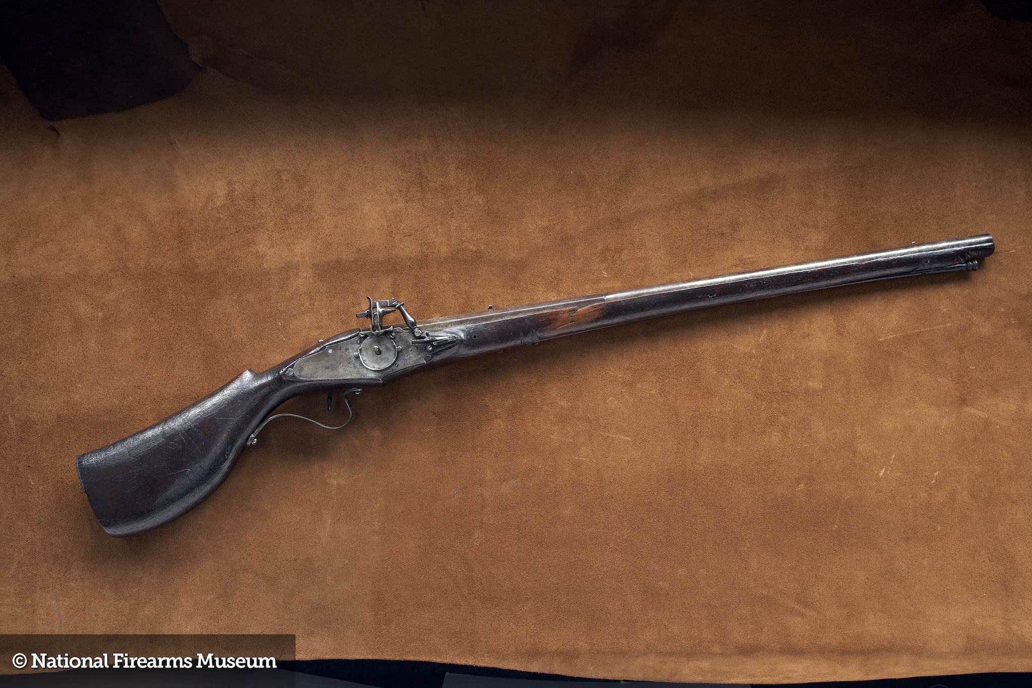 While it doesn't look like the blunderbuss guns cartoons would have you believe the Pilgrims used, this Italian-made wheellock was at Plymouth colony back in the day. (Photos: National Firearms Museum)
