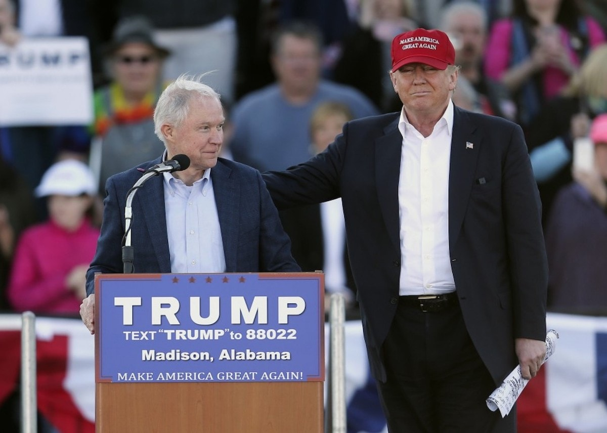 U.S. Senator Jeffrey Beauregard Sessions III on the campaign trail with Donald Trump. Sessions was announced as Trump's pick to replace Loretta Lynch as U.S. Attorney General. (Photo: John Bazemore/AP)
