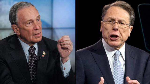 Former New York Mayor Michael Bloomberg and NRA Executive Vice President National Rifle Assoc. Wayne LaPierre have seen tens of millions spent on each side nationwide this year. (Photo: NBC News)