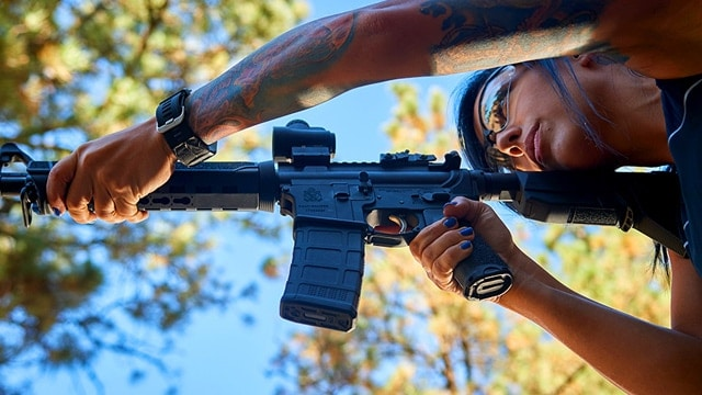 Alex, a 3-gun competitor, shooting a Springfield Saint rifle. (Photo: Springfield Armory)
