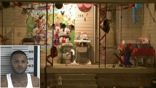 The scene of a fatal shooting at a 2-year-old's birthday party Thursday night. Torius Russell, 30, (inset) has been arrested and charged with first degree murder. (Photo: WREG)