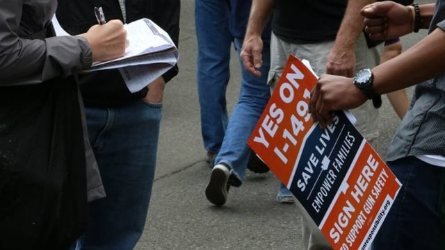 A full 70 percent of Washington's voters this week approved the gun control measure which was extremely popular along the deep-blue I-5 corridor and less so in the rest of the state (Photo: Alliance for Gun Responsibility)