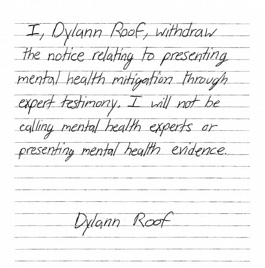 The handwritten motion was filed Friday requesting no mental health evidence be presented to the jury during the penalty phase of Roof's trial. (Photo: U.S. District Court)