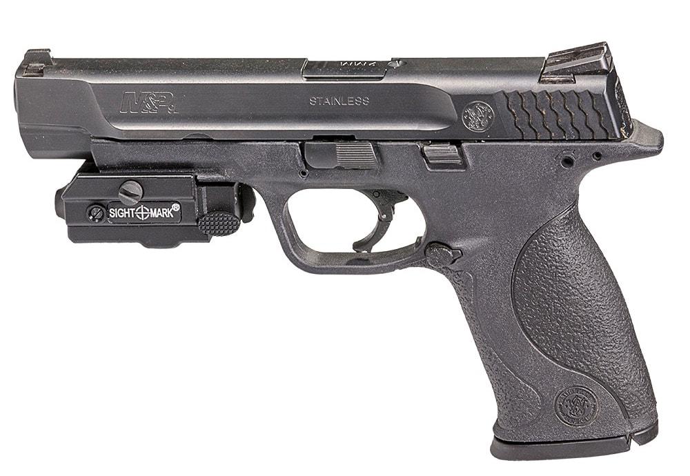 The LW-R5 mounts to any Picatinny/Weaver-railed full-sized handgun. (Photo: Sightmark)