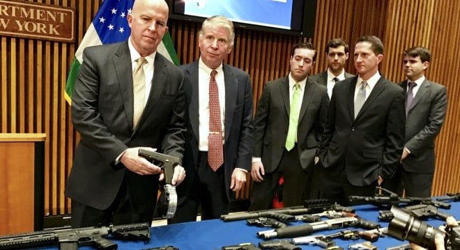Manhattan District Attorney Cyrus Vance and officials from the New York Police Department this week announced the take down of the 23rd large gun trafficking ring in the city since 2010. (Photo: Manhattan DA)