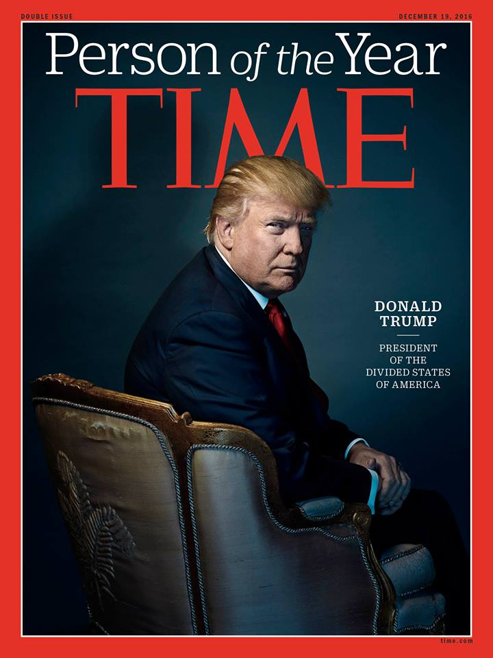 "The cover of Time's ""Person of the Year"" cover. The magazine named President-elect Donald Trump for being most influential in 2016. (Photo: Time)"