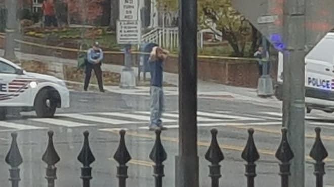 Edgar Maddison Welch, 28, of Salisbury, North Carolina, during his arrest on Dec. 4, 2016. (Photo: Sharif Silmi/Twitter)