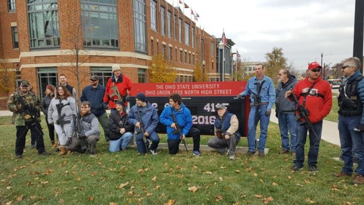 Supporters of concealed carry campus laws participated in an open carry walk on Ohio State University campus on Dec. 5, 2016 (Photo: NBC 4 News)