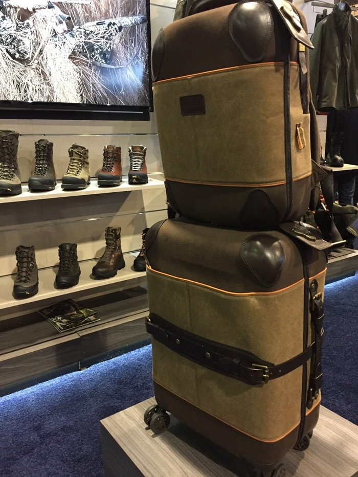 High-end luggage was one of the many new products on display at the Beretta booth. A lovely mix of suad and leather. The top bag functions as both a backpack while larger bag could be pulled. (Photo: Daniel Terrill/Guns.com)