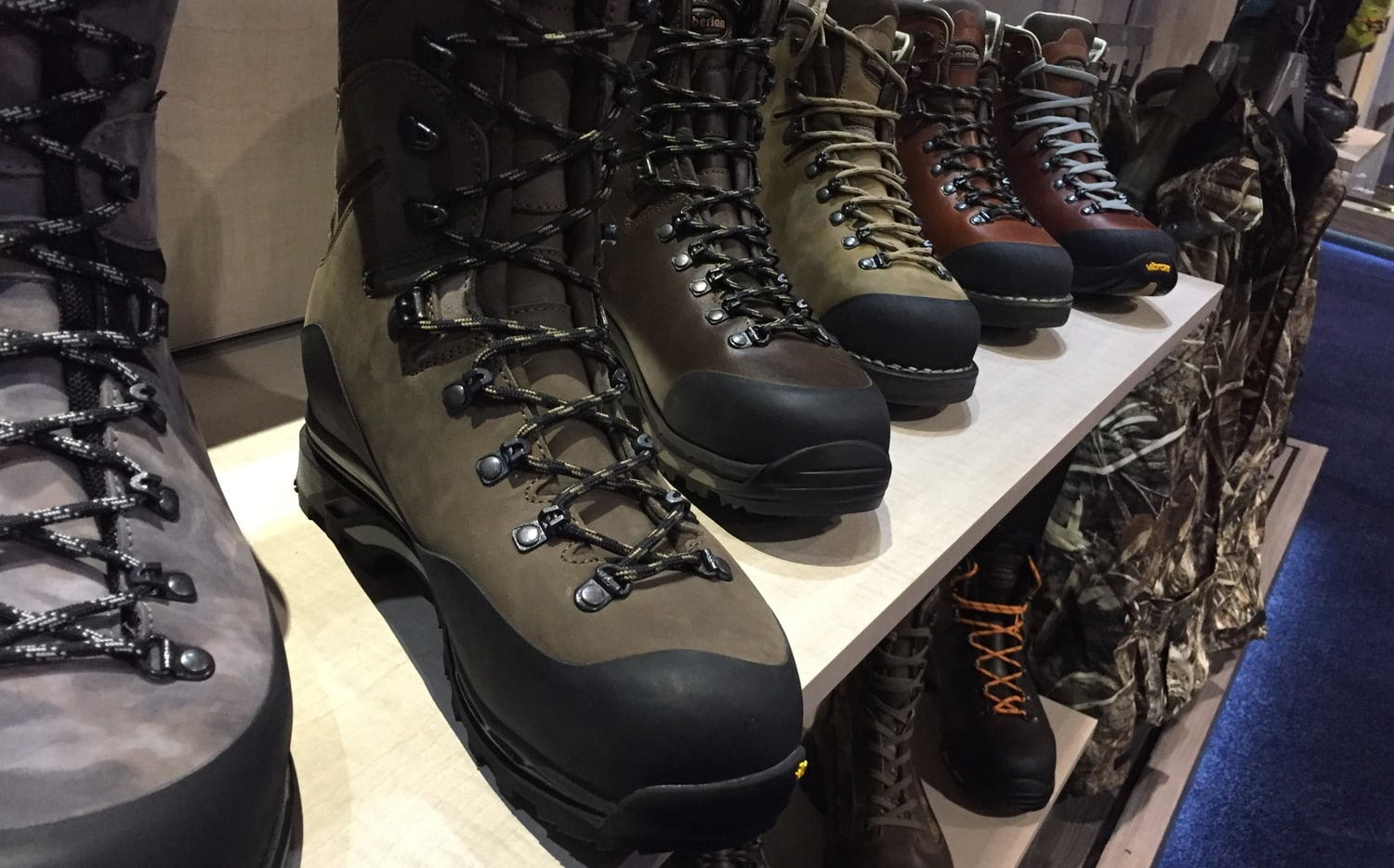 An assortment of Beretta-brand hunting boots on display. Although they may cost a little more, they'll keep your feet dry and last a decent number of years. (Photo: Daniel Terrill/Guns.com)