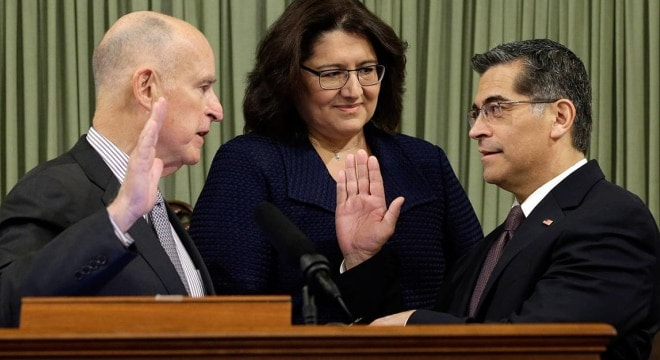 Xavier Becerra, right, is replacing Kamala Harris in office as California's new attorney general (Photo: ABC7.com)