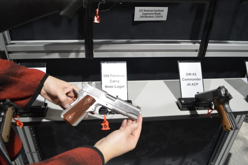 Dan Wesson was not to be left out of new gun debuts, as they showed off this Pointman Carry (PM-C). Chambered in 9mm, this is DW's take on a commander-length slide with an offer-sized frame. (Photo: Kristin Alberts)