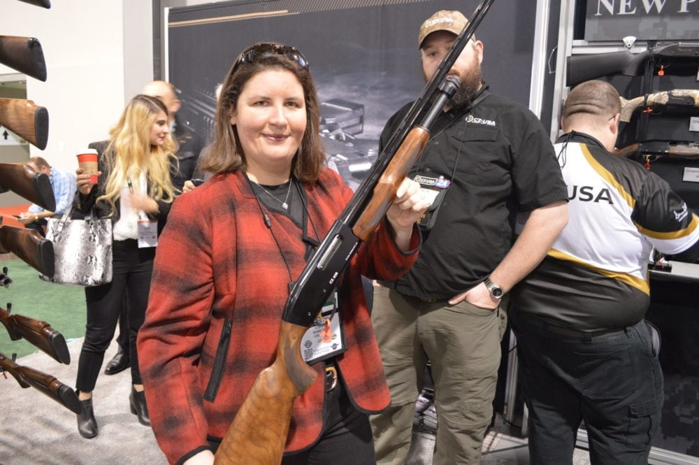 "CZ debuted the new pump-action 628 Field Select shotgun. This is a 28-gauge with a 28"" ported barrel, select grade Walnut, all under 6 pounds. A 620 model in 20 gauge is also offered. (Photo: Kristin Alberts)"
