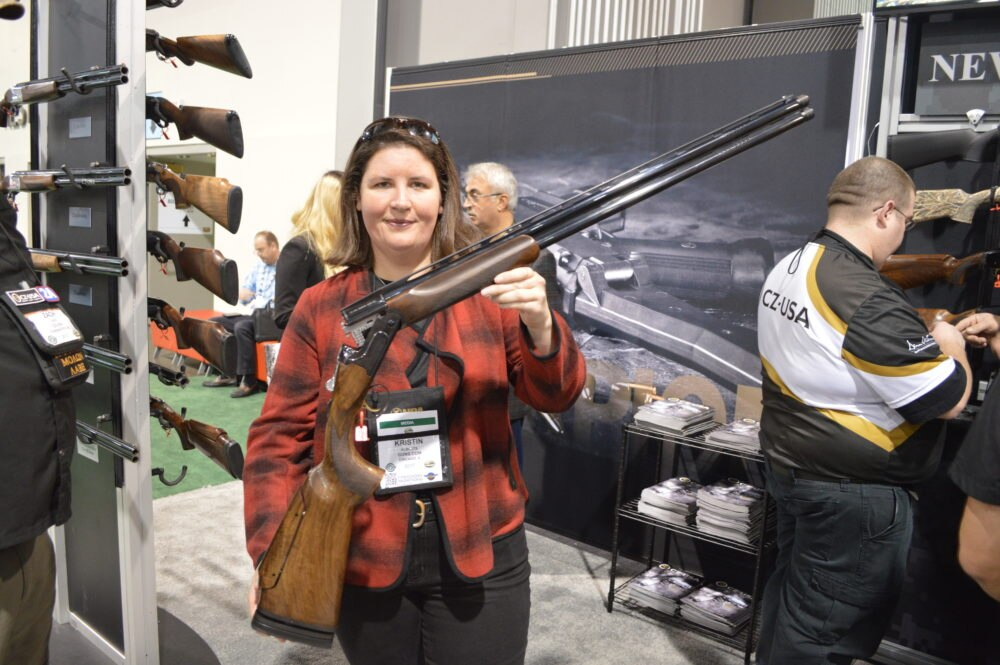 Following up on last year's successful launch of the All-American Trap combo set, CZ now displayed the new All American O/U built with sporting clays shooters in mind. MSRP is a milder $2499 for a competition grade gun. (Photo: Kristin Alberts)