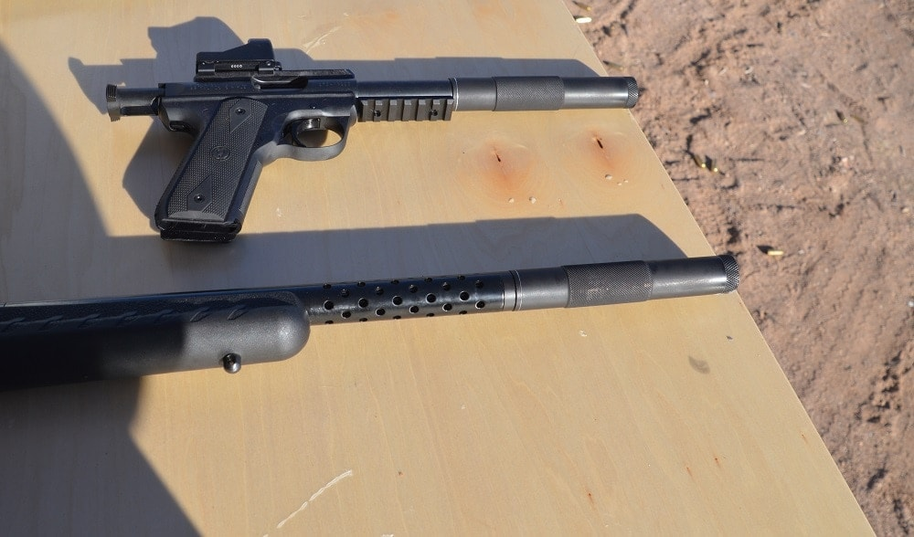 With Inland currently in the .45ACP and .30 Caliber carbine business, they used Ruger platforms to showcase the new rimfire suppressor