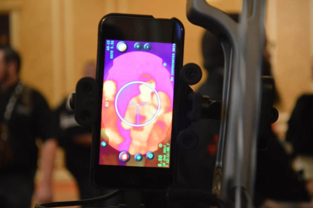 A view through the Inteliscope's thermal camera. The system uses your smartphone and a free reticle/ballistic app from the company. (Photo: Kristin Alberts)