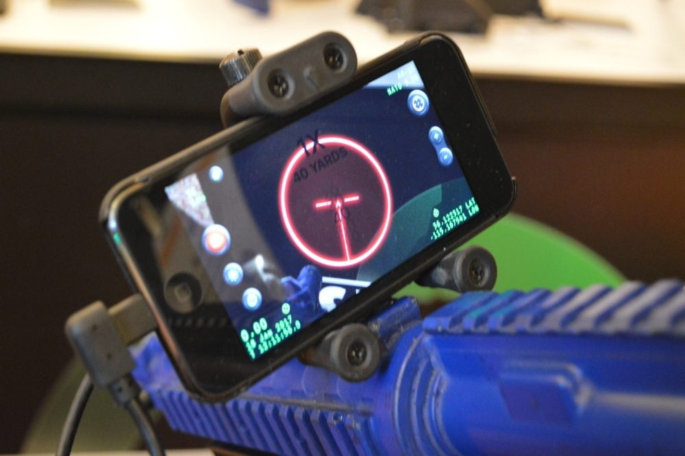 Inteliscope offers a thermal camera in a mount that holds the user's smartphone. (Photo: Kristin Alberts)