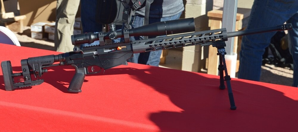 """Switching to long-range shooting, Ruger had their latest variant of their Precision Rifle on hand, chambered in 6mm Creedmoor. The 24-inch 5R-rifled barrel uses a 1:7.7"""" twist. MSRP is $1599."""