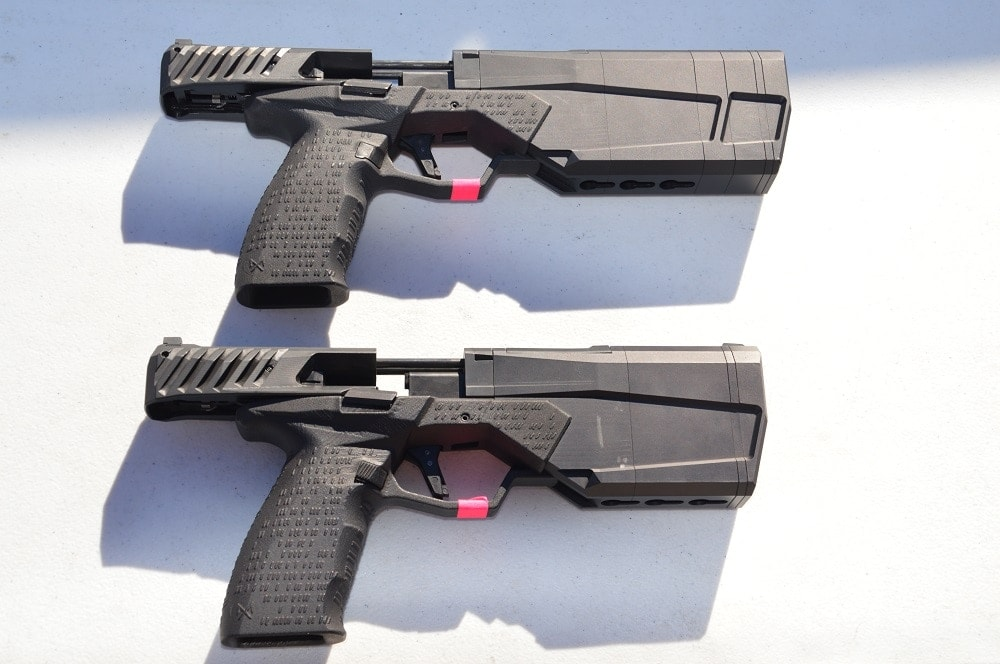 The difference in length between the two builds is about an inch, with the full-size configuration, top, measuring 10.75-inches overall and the abbreviated one taping out at 9.54-inches. Pistols ship with all parts needed for either set-up.