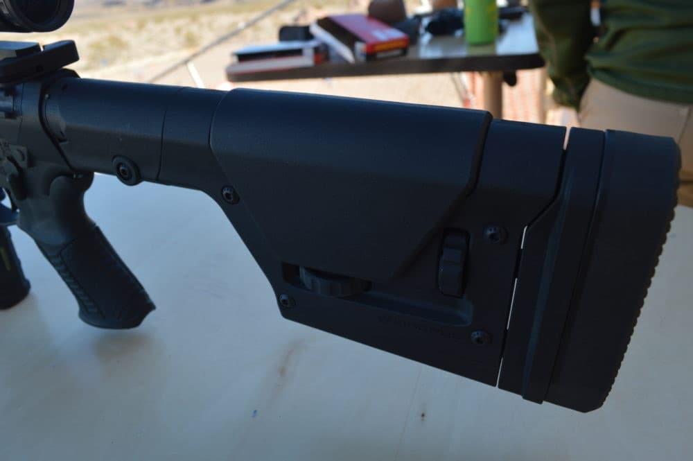 Buttstock detail on the MSR-10 Long Range rifle. This model is the pride-and-joy of Savage's flagship AR line. (Photo: Kristin Alberts)