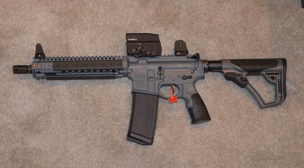 How about a Daniel Defense MK18 with a 10.3-inch 1:7 barrel and a Vortex Razor AMG UH-1 holo sight. Weight as equipped: 5.88-pounds.