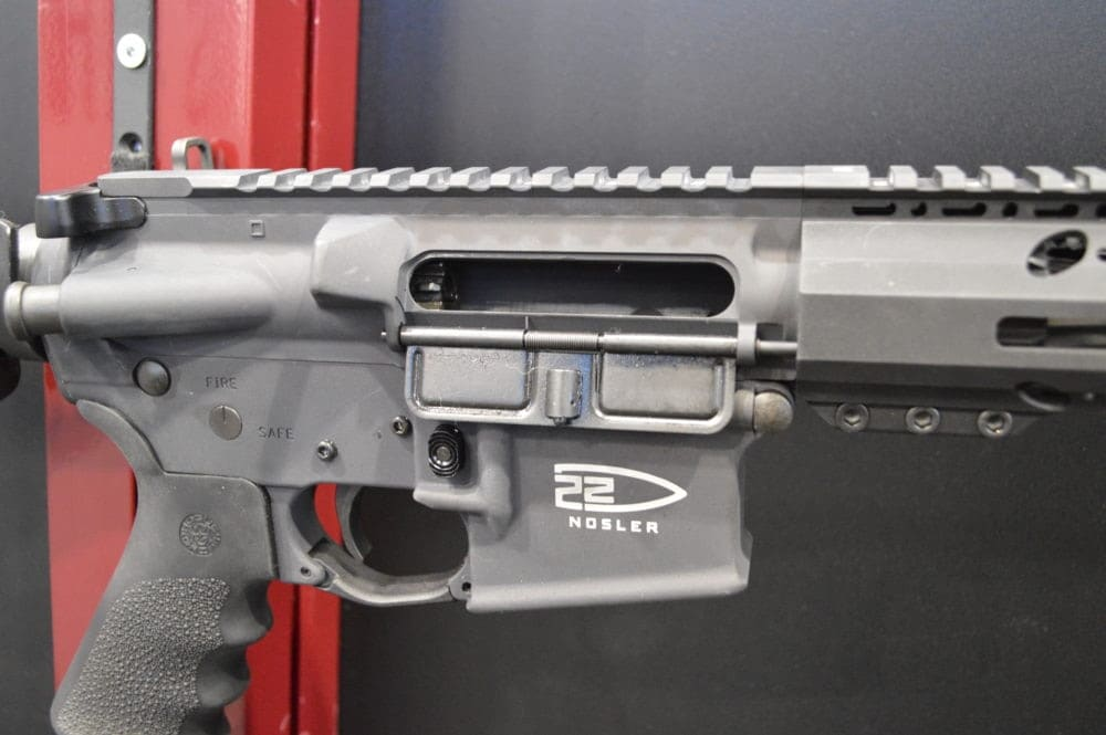 The new 22 Nosler brand shown on the magwell of a Colt AR-15. (Photo: Kristin lberts)